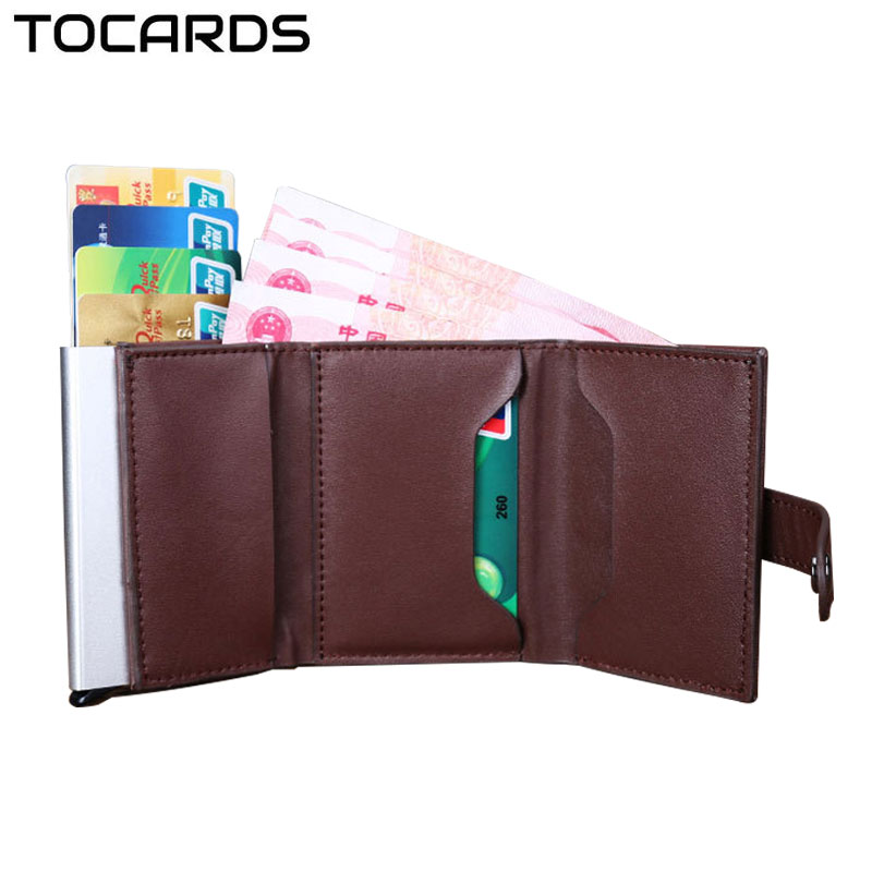 Fashion Automatic Credit Card Holder Men Aluminum Alloy Metal Business ID Multifunction Cardholder Mini Wallet For Business Men