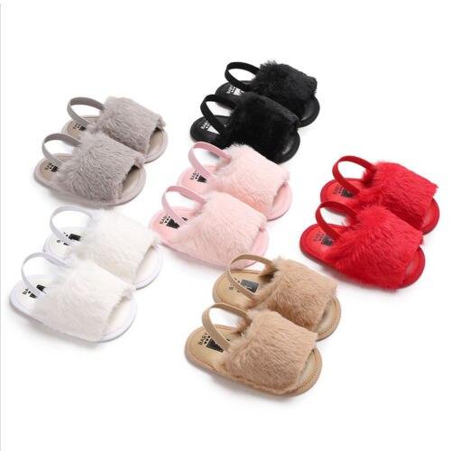 Newborn Baby Girls Soft Sole Crib Shoes Cute Fluffy Fur Summer Slippers Sandals Flat Heel