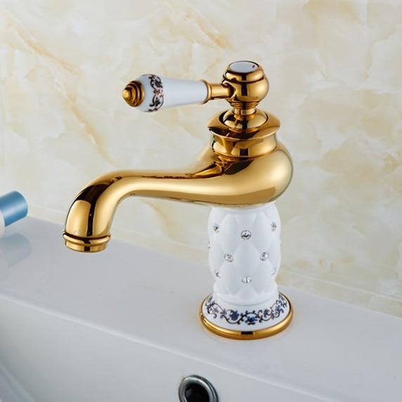ᗔEnvío Gratis latón macizo piedra baño grifo con oro grifo de ...
