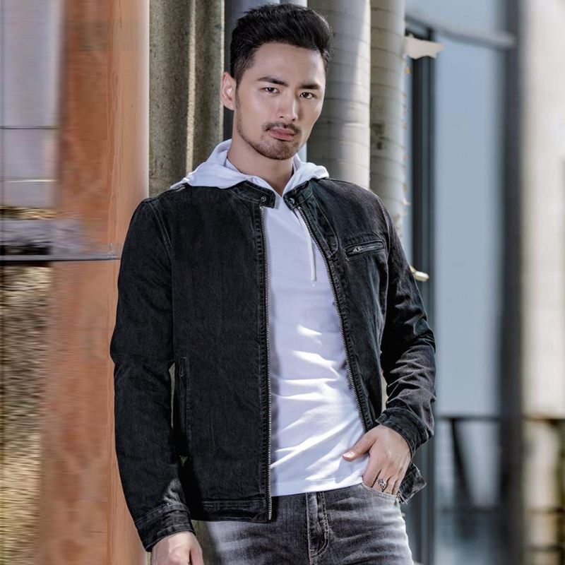 Us 6606 52 Off2018 Autumn And Winter Style Black Denim Jacket Male American Version Youth Mens Motorcycle Jeans Jacket Overcoats Fashion A144 In