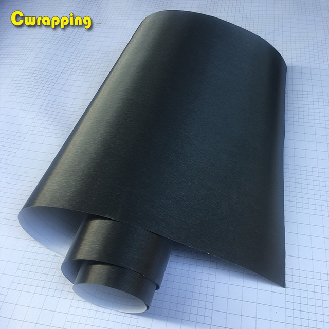 50cm*1/2/3/4/5m Black Metallic Brushed Aluminum Vinyl car Wrap Film Metal brushed Film...