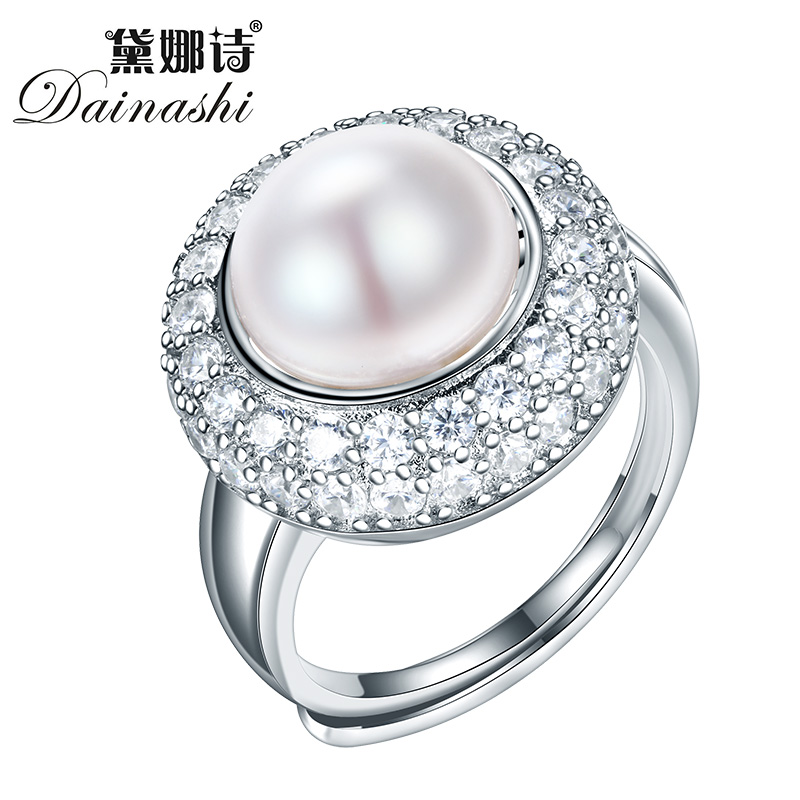 Dainashi 10-10.5mm Freshwater Pearl Ring New Style Gift For Women Natural Pearl Ring 925 Sterling Silver Ring For Mother Gift