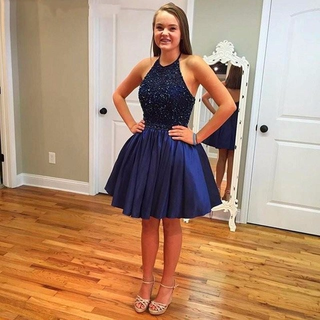 221489f2cead Sapphire Halter Short Ball Gown Homecoming Dresses 2019 vestido de festa  Beading Open Back Celebrity Dress