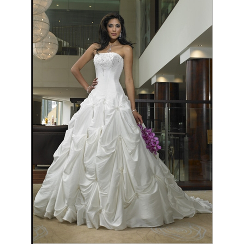 Vintage strapless ball gown pick up skirt wedding dresses for Pick up wedding dress