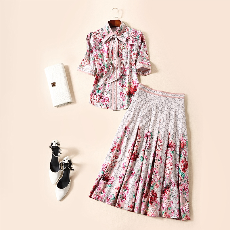 Summer Runway Desinger Dresses 2018 Women Elegant Vintage Short Sleeve Floral Printed Bow Pleated Midi Dress two piece dress