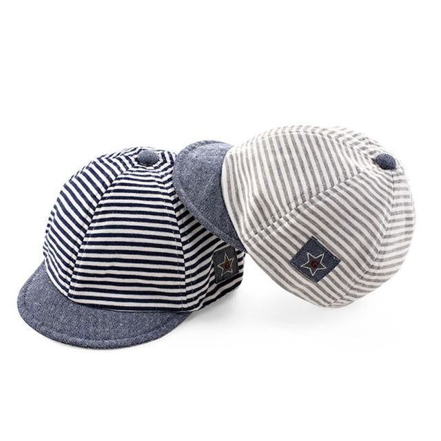 b5937e185e6 2017 Summer Fashion Baby Striped Hat Cotton Blend Baby Boy Cap Adjustable Infant  Hats for Girls