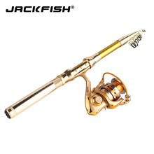 Cheapest prices JACKFISH Spinning Fishing Rod Combo Telescopic Fishing Rod + 10BB Fishing Reel Wheel Portable Travel Fishing Rod
