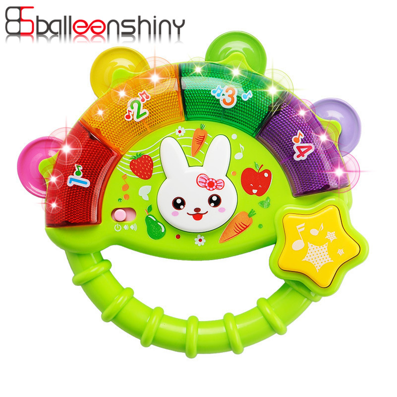 1pcs Musical Flashing Baby Rattles Hand Bell Toy Cartoon Colorful Develop Baby Intelligence Grasping toy Gift For 0-12 Months