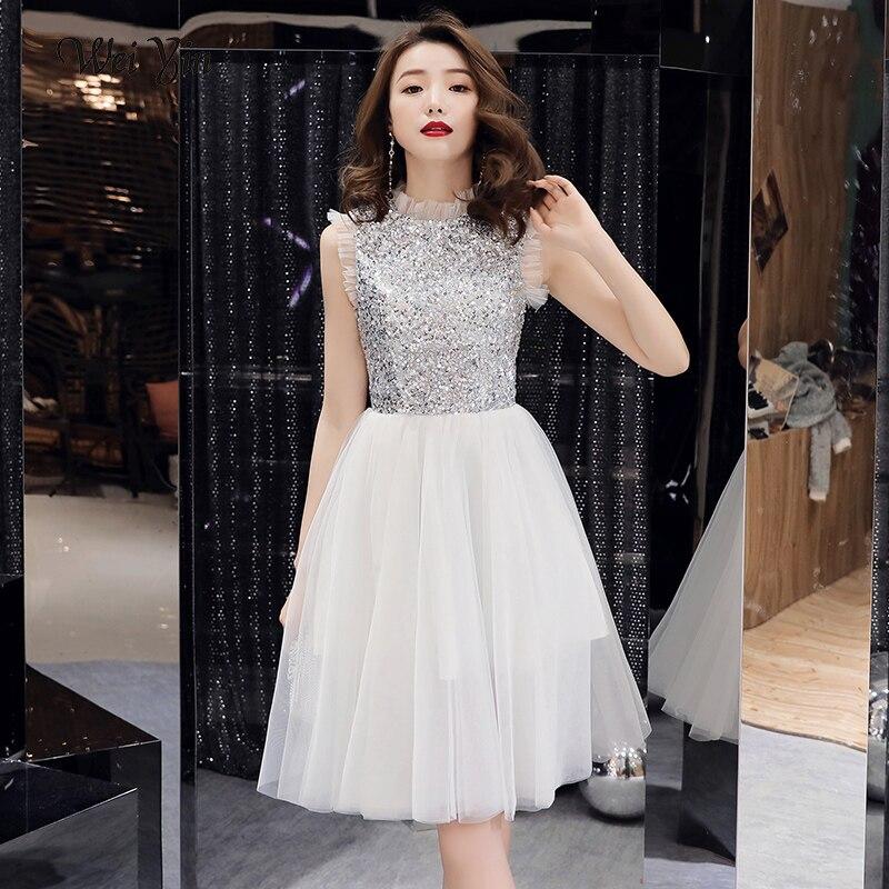 Wei yin 2019 sexe blanc sans manches a-ligne Zipper robe de soirée robes de Cocktail longueur genou robe formelle robe de soirée WY1681