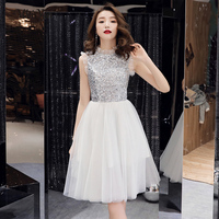 wei yin 2019 Sex White Sleeveless A line Zipper Dinner Dress Cocktail Dresses Knee Length Formal Dress Party Gown WY1681