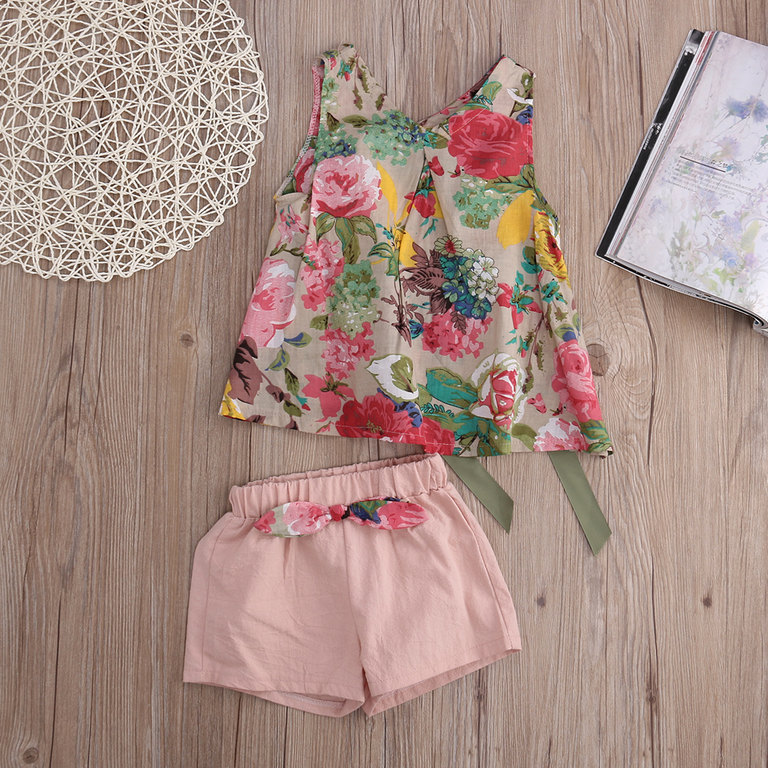Kids Clothes 2016 Cute Baby Girls Clothing Set Summer Sleeveless Flower Vest Top + Hot Pant 2pcs Outfit Little Princess Outfit flower sleeveless vest t shirt tops vest shorts pants outfit girl clothes set 2pcs baby children girls kids clothing bow knot