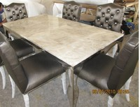 Stainless Steel Dinning Table With Dining Room Set With 6 Chairs Marble Top Table Moderns Style