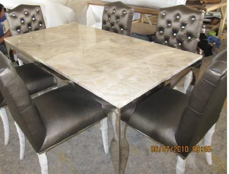 de acero inoxidable mesa de comedor con juego de comedor con sillas superior de