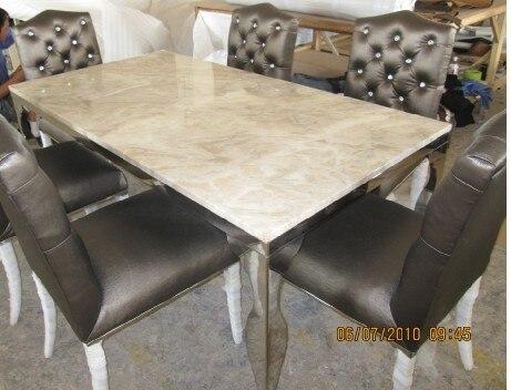 Rvs eettafel voorzien eetkamer set met stoelen marmeren top