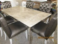 stainless steel Dinning table with dining room set with 6 chairs, marble top table moderns style(China)