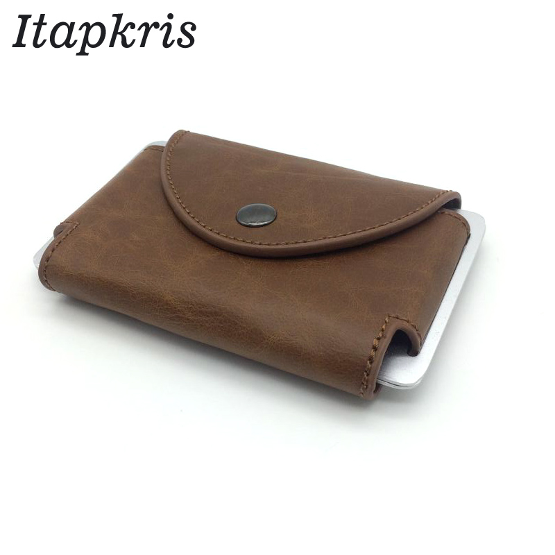 цены на Itapkris Men Business Card Holder Women PU Coin Pocket Change Purse High Quality Credit Card Case RFID Wallet Cash Money