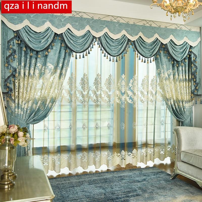 European luxury light blue embroidered Blackout decorative ...