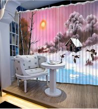Customize buyer size curtain sunshine decorative window curtains winter scenery curtain styles for bedrooms(China)