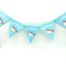 1pc/set Kids Birthday Party Supplies Unicorn Cartoon Pennant Bunting Flag Banners Boys Event