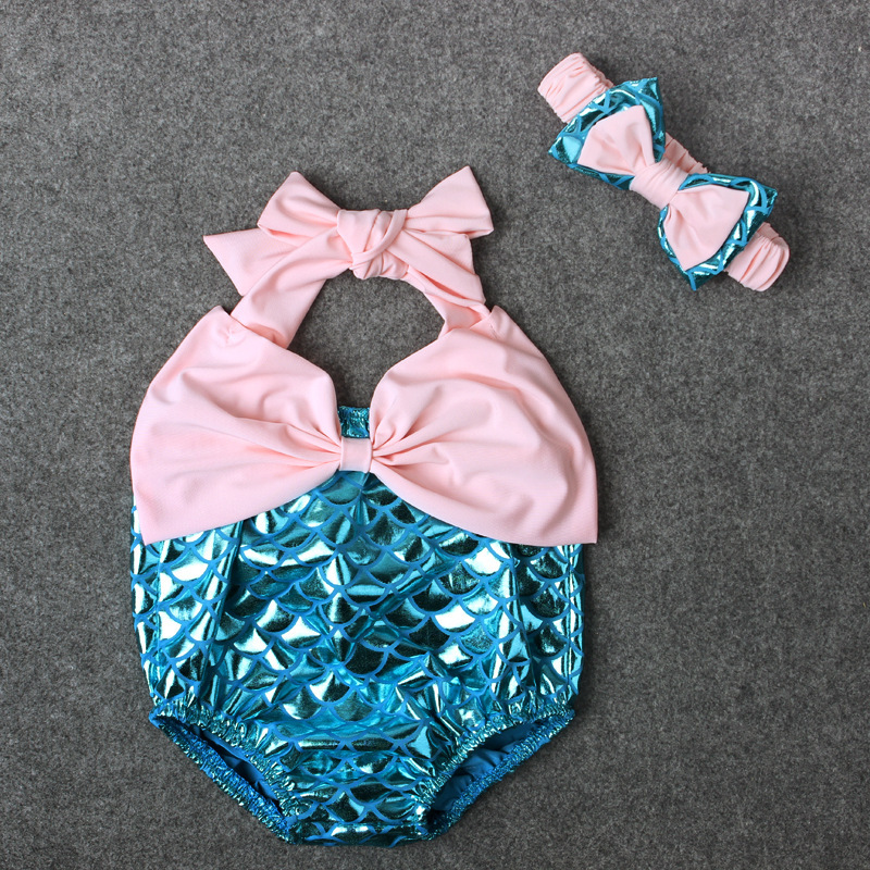 Lovely Mermaid Style Daddys Girl Headband Set Baby Romper Summer Little Girl Newborn Clothes Ropa Para Bebes Pink Blue