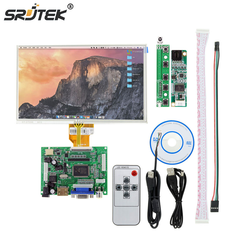 7 inch For Raspberry Pi LCD Display TFT Monitor AT070TN90 With Touch Screen Kit HDMI VGA Input Driver Board 800*480 raspberry pi 7 inch lcd kit hdmi vga 2av hd lcd kit for car lcd screen vga head driven plate key remote control wiring