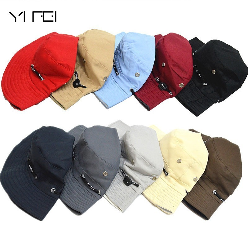 YIFEI Mens Panama Bucket Hats Fishing Hat Waterproof Breathable Dark Blue Cap Unisex Bob Hiking Sombrero Outdoor Gorro Polyester mosquito cap midge fly insect bucket hat fishing camping field jungle mask face protect cap mesh cover 50pcs lot wholesale