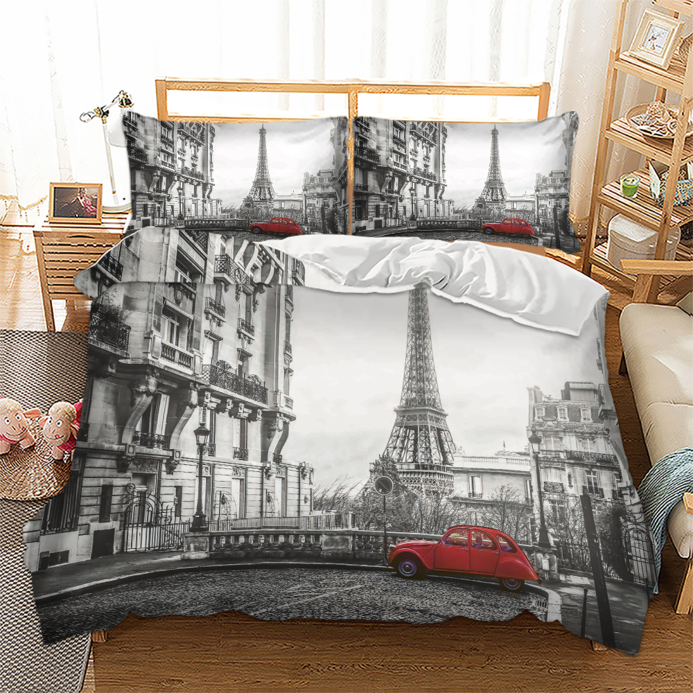 Free Shipping Novelty Gift Paris Eiffel Tower Red Car Print Polyester Bedding Set Quilt Duvet Cover+Pillow Case US AU EU Size