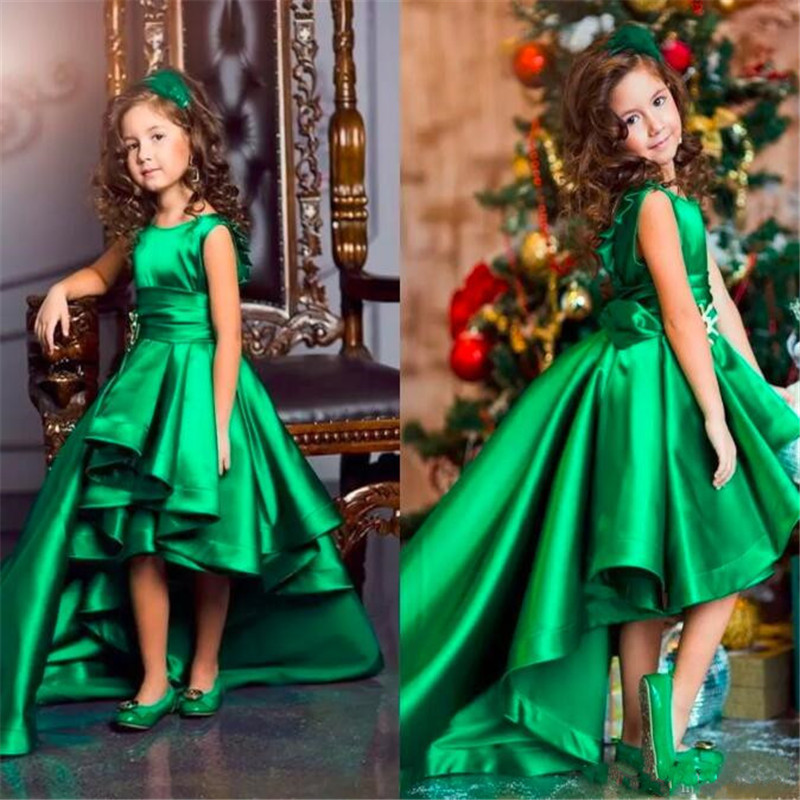 Green Pageant Dresses with Sash Pleat Satin A Line Flower Girls Dresses for Lovely girl High Low Kids