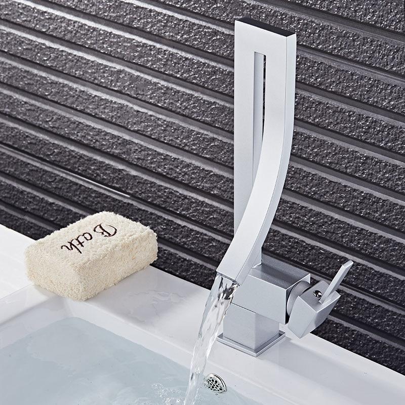 Robinet de lavabo noir/Chrome/Nickel/argent mitigeur de lavabo cascade robinet de salle de bain chaud et froid robinet d'eau d'évier - 3