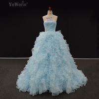 Custom Made Hot Sale Ball Gown Wedding Dress 2015 Silk Organza Ruffle Beaded Vestido De Noiva