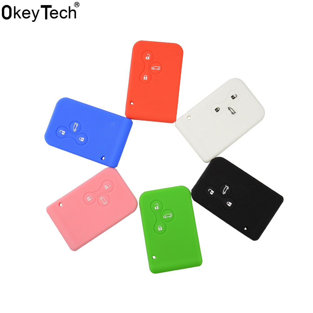 OkeyTech Silicone rubber car key case cover for Renault Megane R.S. Scenic replacement 3 buttons card key Protector Case shell jingyuqin 3 buttons remote silicone rubber car key case cover for renault megane r s scenic 3 button card key smart key