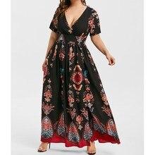 5XL Summer Women Boho Print Long Dress Casual Short Sleeve V-Neck High Waist Dress Beach Wear High Split Maxi Dress Plus Size tropical print split sleeve elasticized waist dress
