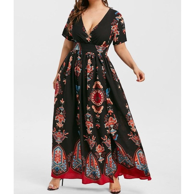 5XL Summer Women Boho Print Long Dress Casual Short Sleeve V-Neck High Waist Dress Beach Wear High Split Maxi Dress Plus Size