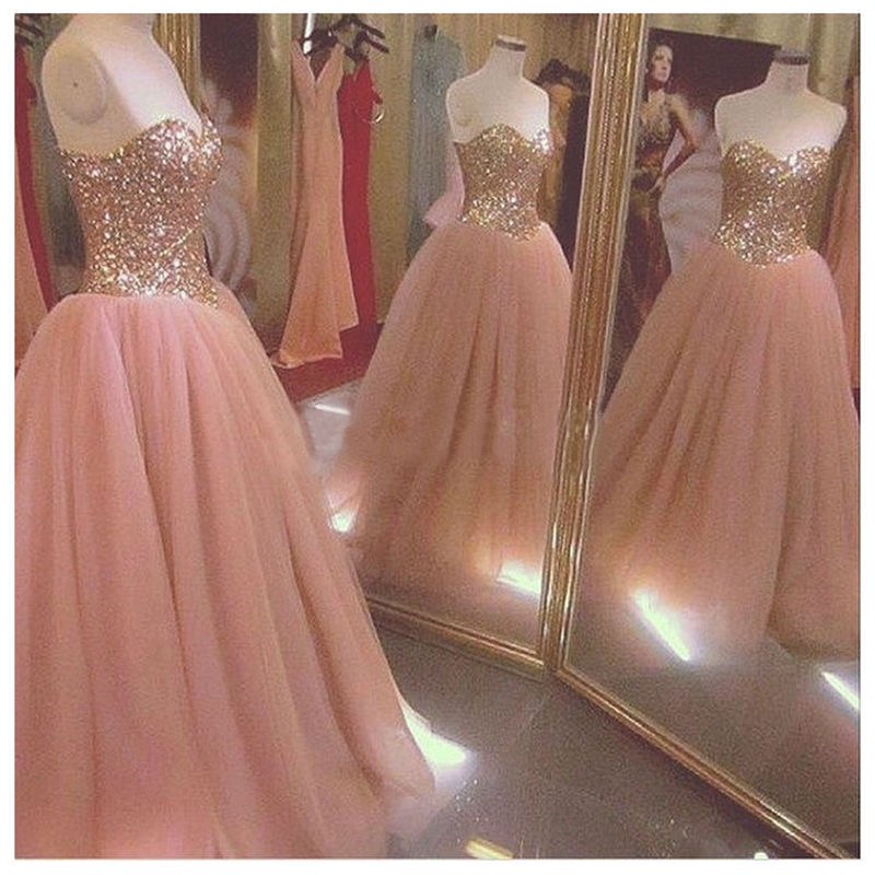 Sparkly Rose Gold Quinceanera Dresses 2019 Sequins Crystal