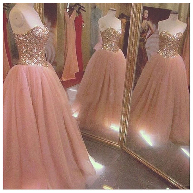 d40ea2a9a6058 Sparkly Rose Gold Quinceanera Dresses 2019 Sequins Crystal Princess Sweet  16 Dress Ball Gowns Vestido 15 Anos Debutante Gown