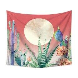 Kolorowe kaktus i księżyc psychodeliczny tapiz drukowana tkanina poliestrowa dekoracje ścienne wiszące gobelin tropikalnych gobelin