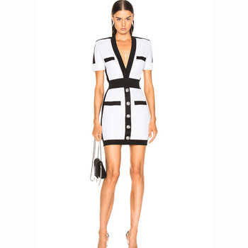 HIGH QUALITY Newest 2019 BAROCCO Runway Designer Dress Women's Short Sleeve V-neck Color Block Bodycon Bandage Dress - DISCOUNT ITEM  48% OFF All Category