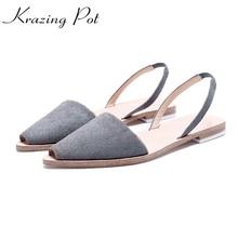 Krazing pot/2017 из конского волоса бренд обувь резинка Slingback, на плоской подошве с острым носком натуральная кожа женская обувь сандалии L71