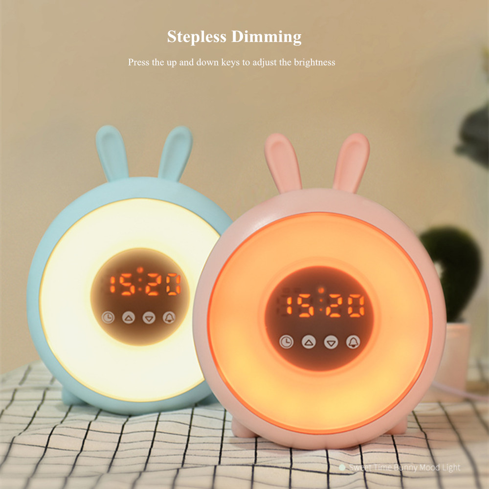 Bunny Alarm Clock with Touch Sensor Colorful LED Night Light Sunrise Sunset Modes Stepless Dimming Rabbit Bedroom Bedside Lamp (7)