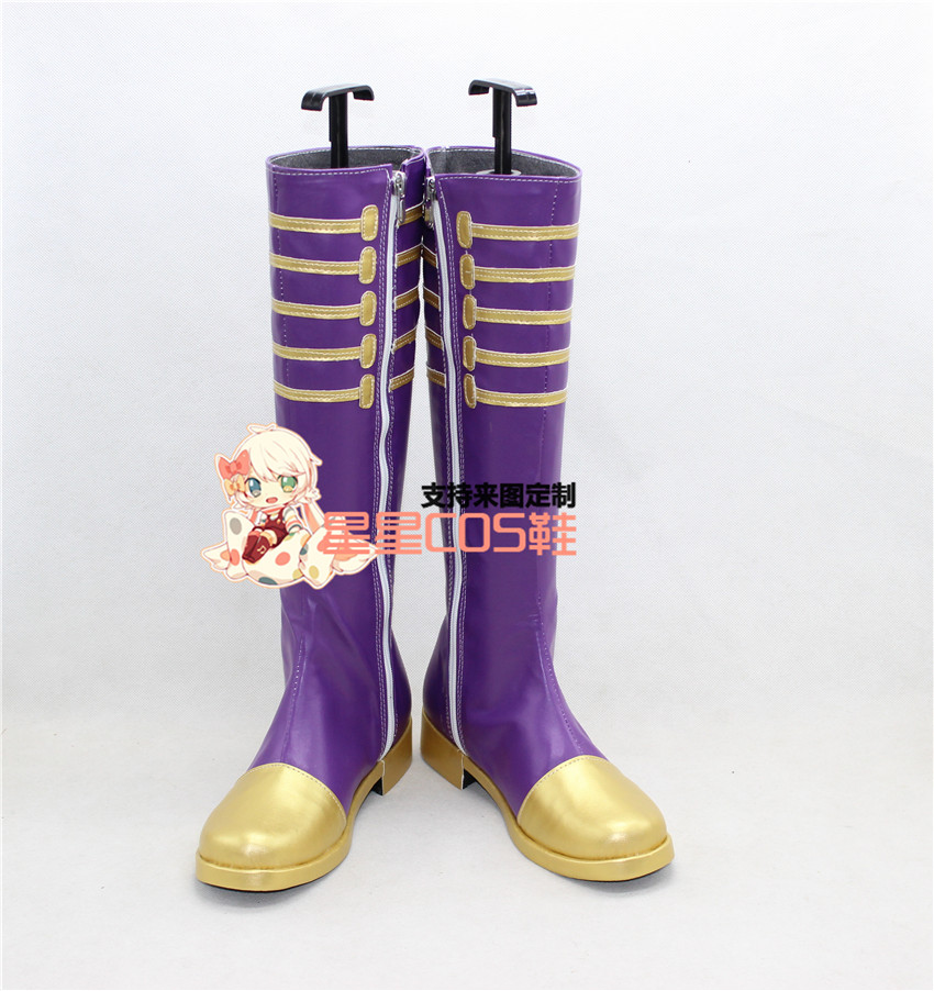 Vocaloid Miku Magician Purple Long Cosplay Shoes Boots X002