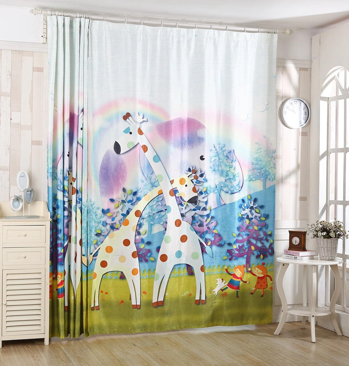 2016 New Korean 3D Printing Color Shade Curtains Children Cartoon Deer Product Customization