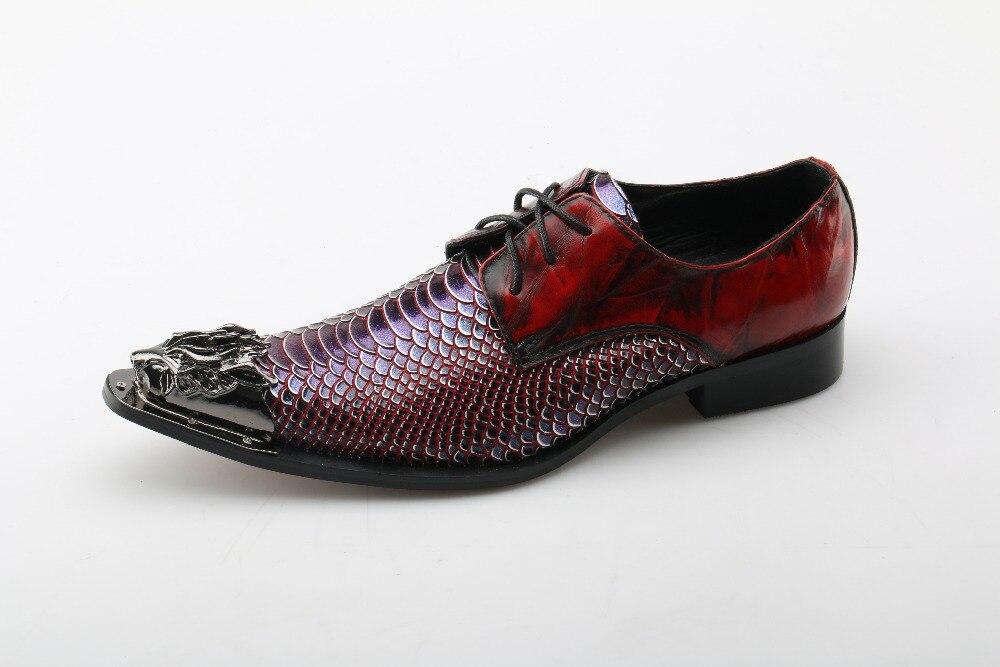 Pele Homens Cravejados Loafers Genuína Lace Sapato Vestido Ferro Couro Sapatos Para Up Oxford Formal Dedo Apontado De Cobra Dura 7xwpE