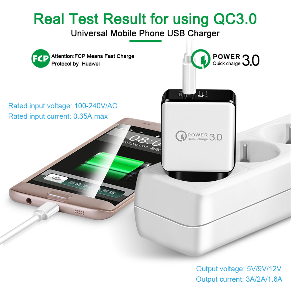 18W Quick Charge QC3 0 Mobile Phone Charger USB Travel Wall Charger Smart Fast Charging for iPhone X 8 7 Samsung S8 Xiaomi Cable in Mobile Phone Chargers from Cellphones Telecommunications