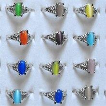 Wholesale Mix lot 15pcs Cat Eye Stone Ring Fashion Charming Wedding Rings Women Jewelry Accessories