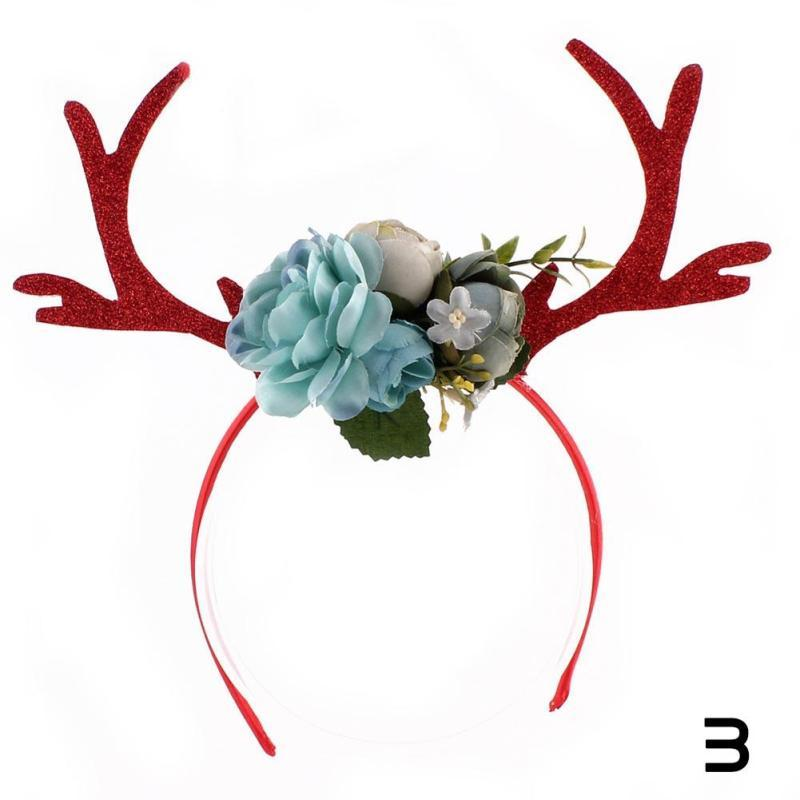 Weihnachten Hirsch Geweih Stirnband Festliche Partei Dressing Elch Hairhoop Foto requisiten Blumen Haar Decor Für Kinder Geschenk 3