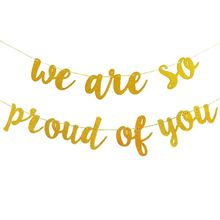 Gold Glittery We are So Proud of You Banner -Graduation Party/Grad Party Decorations halloween or christmas gift