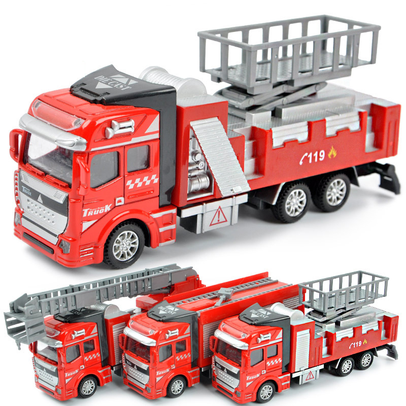 Klasične igrače 3 stili Potegnite nazaj Gasilsko vozilo avtomobilski model igrač Igrače Alloy Diecast gasilsko vozilo Gasilske igrače avtomobilskih vozil