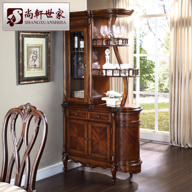 American Style Solid Wood Wine Cabinet Fashion Corner Parion Gl Bar Counter Console Storage