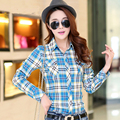 New 2016 Women Slim Plaid Blouse High Quality Long Sleeve Cotton Women Shirts With Pockets Blusas Femininas Hot Selling