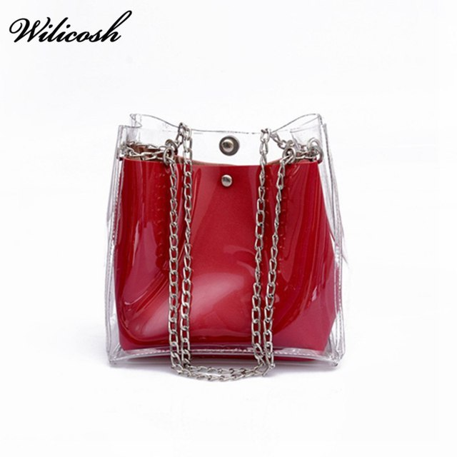 Luxury Brand Women Shoulder Bags New Transparent Jelly Bag Summer Bucket Bags 2 Sets For Lady's Messenger Bag Handbags WBS336